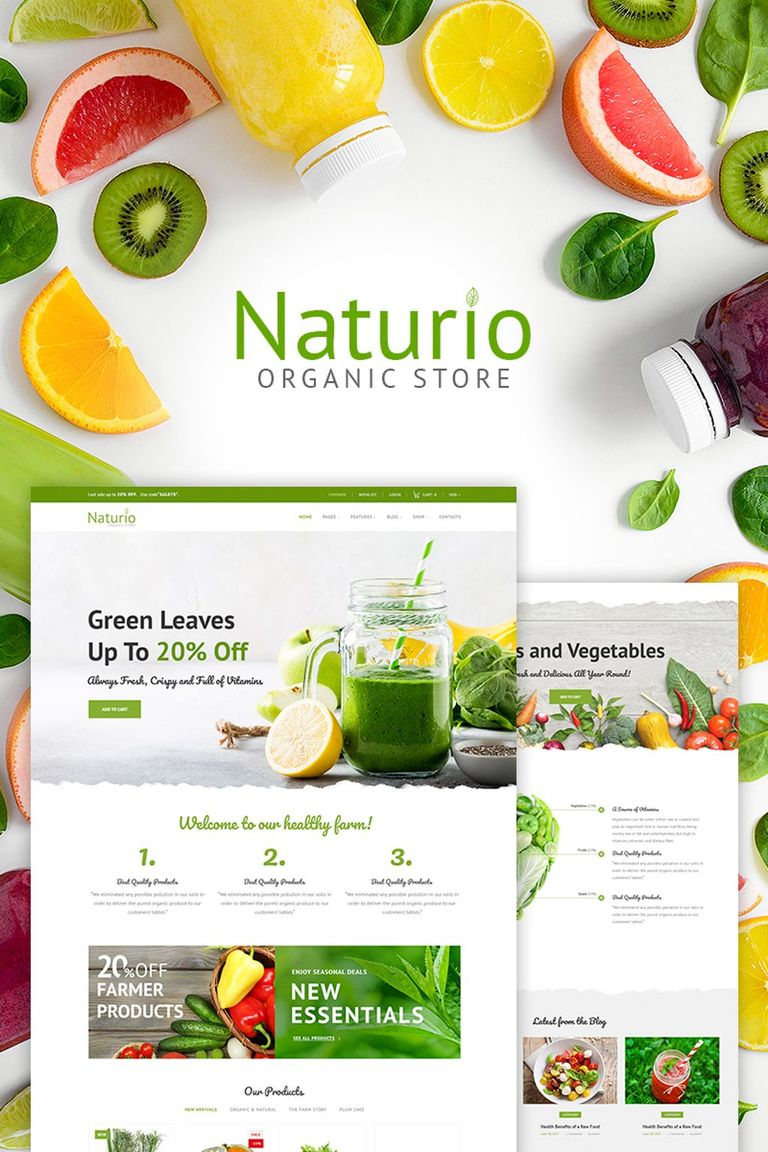 grocery store template naturio food store template woocommerce